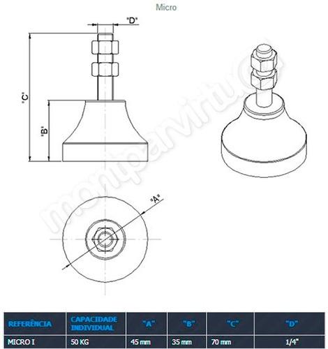 amortecedor nivelador sapata de borracha vibra stop micro 1