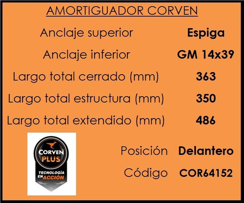 amortiguadores chevrolet s10 2013 kit completo (corven)