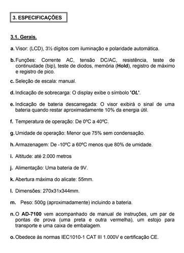 amperímetro ad-7100 icel manaus corrente ac 20/200/2000a