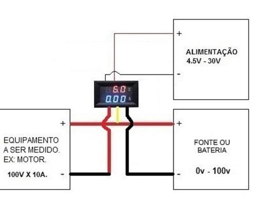 amperimetro voltimetro  0 100v 10a dual display led favix dc