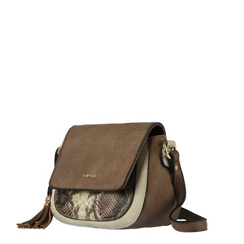 amphora iraida bandolera con tapa taupe cartera para mujer
