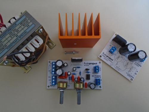 amplificador 2.1 6+6+20 watts con fuente trafo y disipador