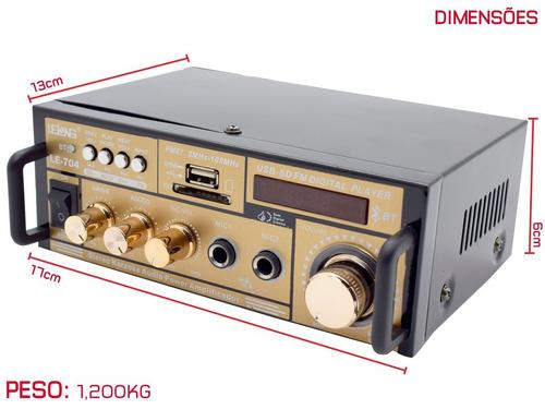amplificador áudio receiver 200w bluetooth usb fm karaokê
