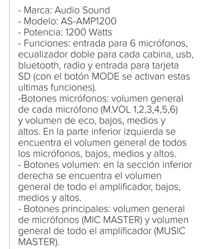 amplificador audio sound 1200watts con bluetooth