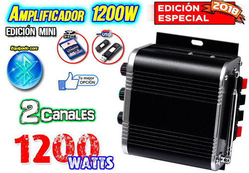 amplificador audio usb sd bluetooth edicion mini 1200w xaris