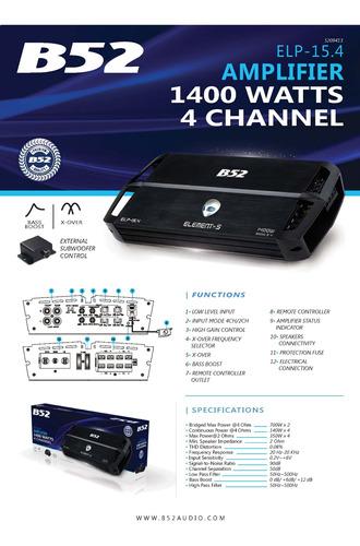 amplificador b52 elp15.4 amp 4c 1400w
