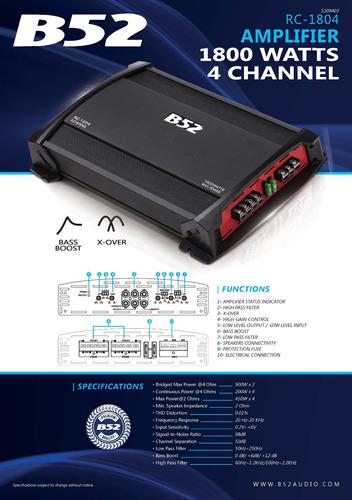 amplificador b52 rc1804 amp 4c 1800w
