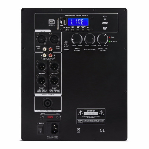 amplificador bi-amp 400w + 100w rms + player caixa som ativa