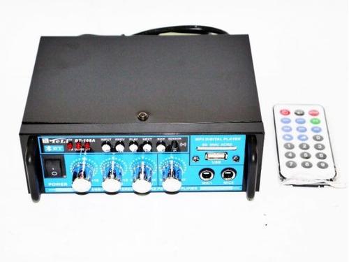 amplificador bluetooth 12v/220v usb fm sd card karaoke mp3