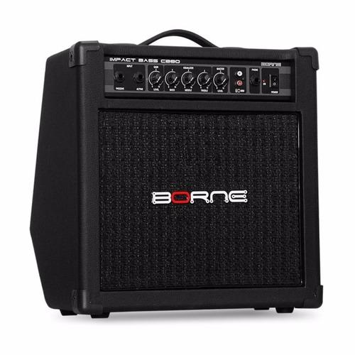 amplificador cubo contra baixo borne impact bass cb80