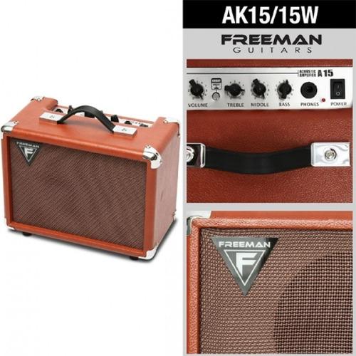 amplificador de guitarra electroacústica ak15, 15w,  freeman