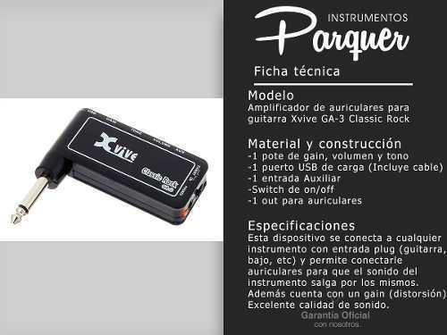 amplificador de guitarra p auriculares xvive ga-3 distorsion