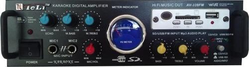 amplificador de karaoke av-339 usb sd fm  micrófono pantalla