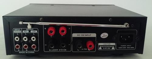 amplificador ent.mic x2 rca fm karaoke usb sd 12v -220v