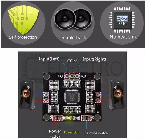 amplificador estéreo 2x15w pam8610 garantía eadictos
