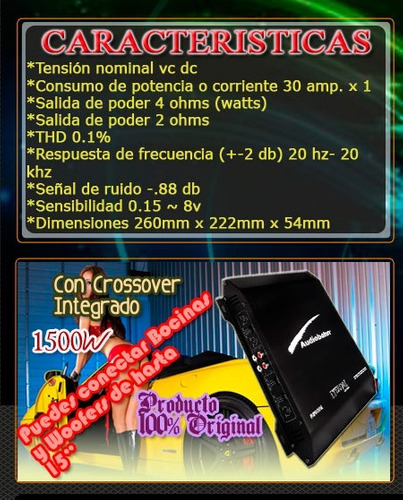 amplificador eternal audiobahn 1500w 2ch crossover integrado