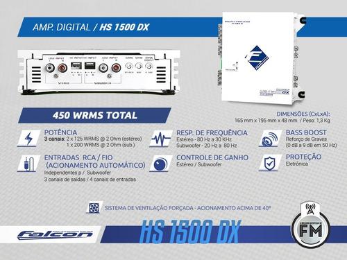 amplificador falcon 3canais hs1500dx - 2x125wstereo+1x200wmn