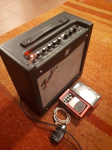 amplificador fender mustang l + pedal analogo + interfaz