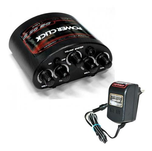 amplificador fone de ouvido power click db05 stereo + fonte
