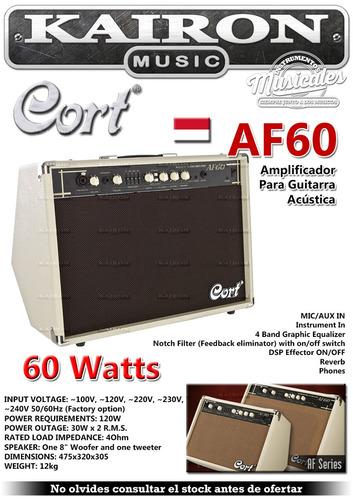 amplificador guitarra electroacustica cort af60 entra micro