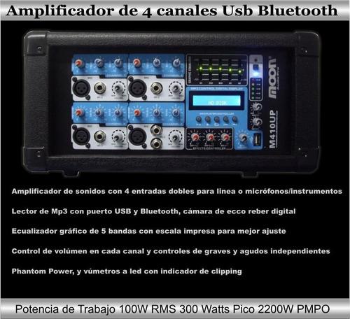 amplificador mezclador con bluetooth mp3 usb ent microfonos