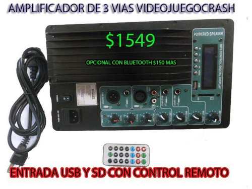 amplificador modulo consola para audio potente usb sd mp3etc
