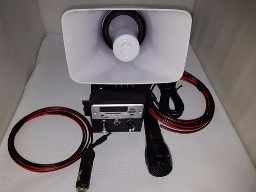 amplificador perifoneo+corneta+microfono+cables usb sd fm