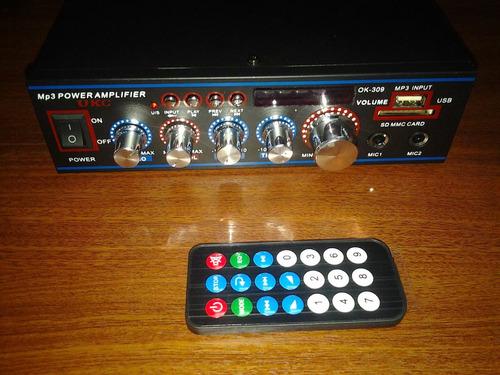 amplificador  perifoneo doble 35+35w usb sd radio fm mp3 mic
