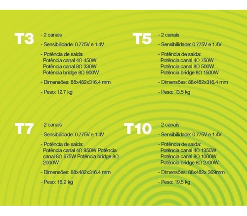 amplificador potencia crown t5 t-5 t 5 10gz 500w 8 ohm 220v