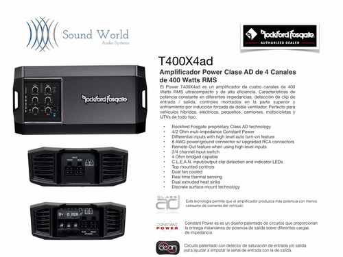 amplificador power mini rockford fosgate 4canales 400 watts