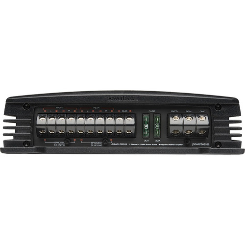 amplificador powerbass asa3 700.5 5 canales 1600 w. max.