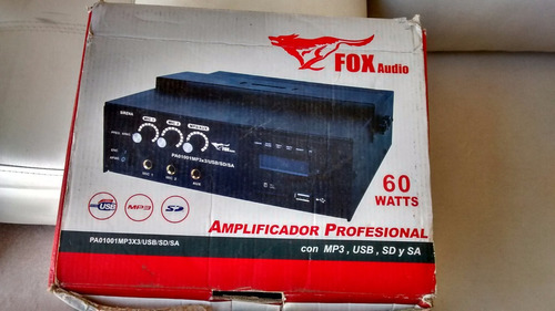 amplificador profesional fox pa01001/ mp3x3/usb/sd/sa usado