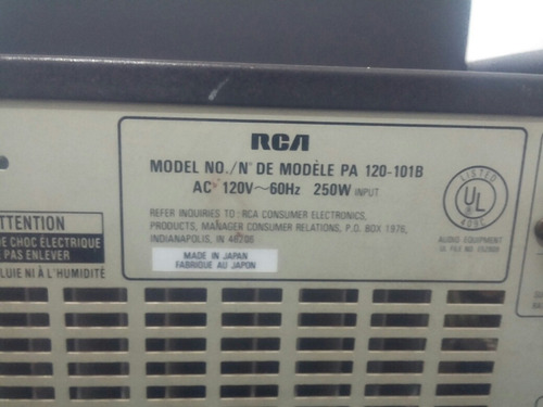 amplificador rca 250 w rms +tuner+cassetera