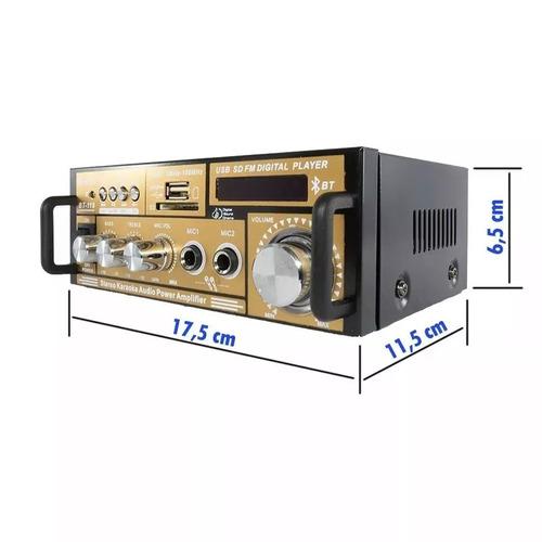 amplificador receiver usb sd bluetooth som ambiente bt-118