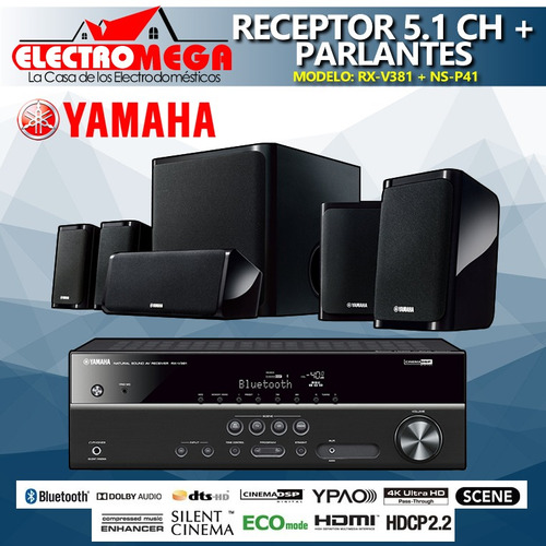 amplificador receptor av 5.1 ch + parlantes yamaha 550w