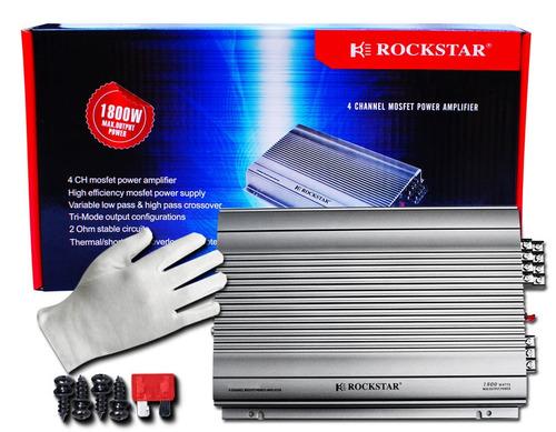 amplificador rockstar 4 canales 1800w para bocinas o woofers