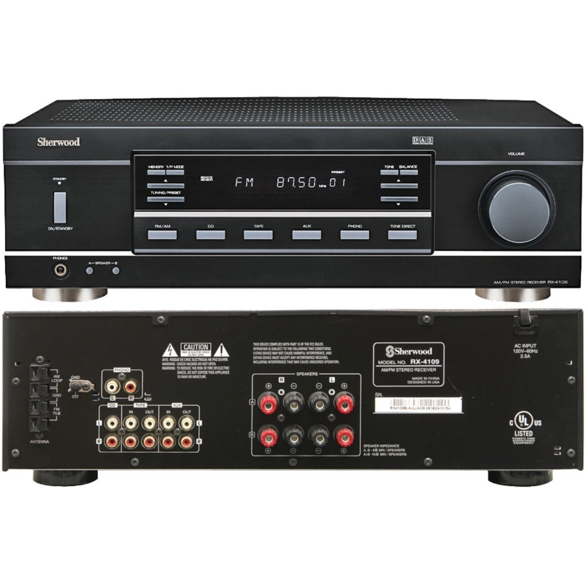 Amplificador sherwood rx 4109 receptor stereo 210 watts for Stereo casa