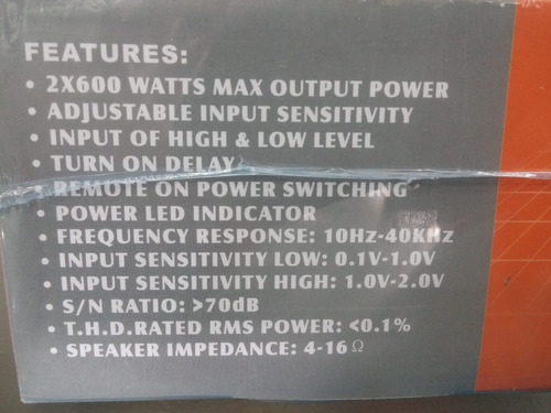 amplificador sonido planta carro medios triaxiale saga 1200w