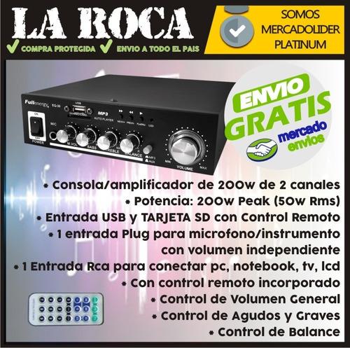 amplificador stereo 200w con usb y control remoto - la roca