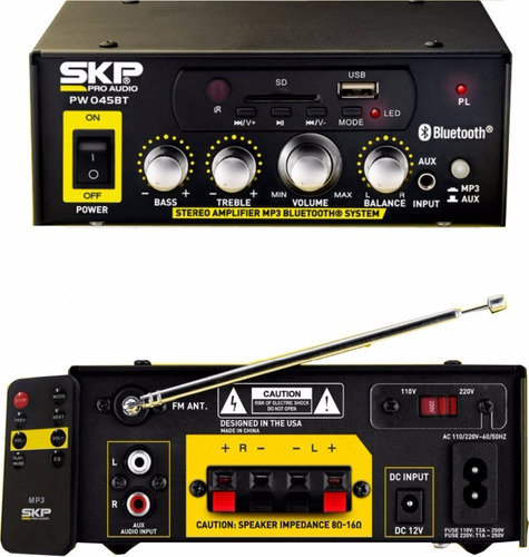 amplificador usb mp3 bluetooth skp radio fm- 220 y 12 v 45w