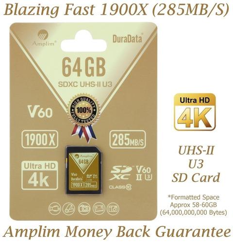 amplim uhs-ii tarjeta sd: ultra fast 285mb/s (1900x), v60