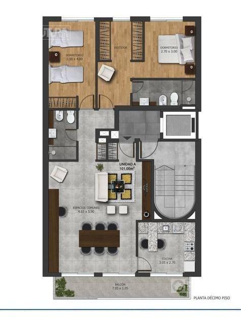 amplio departamento 1 dormitorio en venta  - abasto - rosario