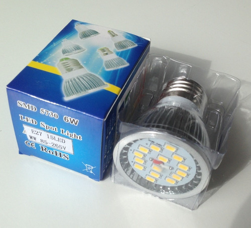 ampolleta led e27 6 watts 750 lúmenes (luz cálida)
