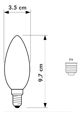ampolleta led philips vintage vela calida cristal e14 4w