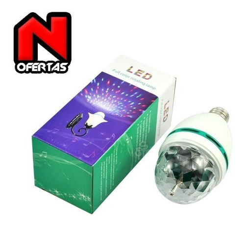 ampolleta led rgb, multicolor e-27 bola disco, fiesta, laser