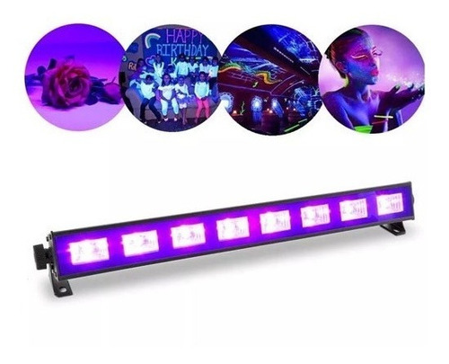 ampolleta luz fiesta led 9 luces / 9x3w ultravioleta fluor