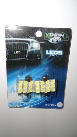 ampolletas 31mm 12 led smd 5050 blancas (interior vehículos)