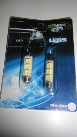 ampolletas 39mm 3 led smd 5050 blancas (interior vehículos)