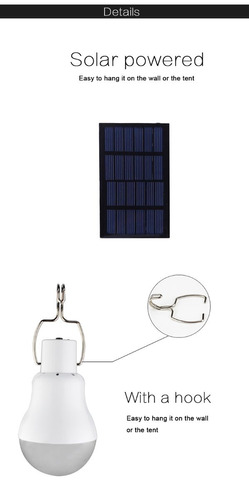 ampolletas led con panel solar: camping, viajes, emergencia