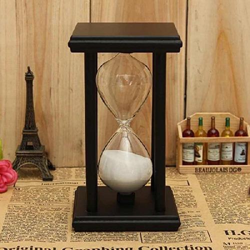 ampulheta base madeira relógio areia branca 30 minutos